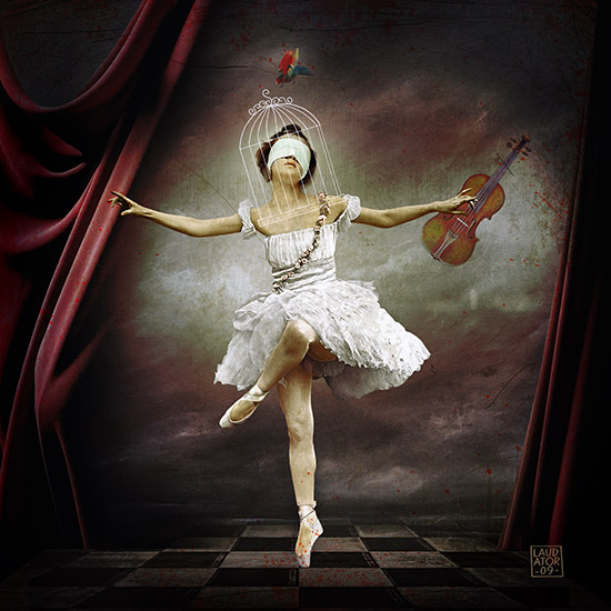 """""""Le jour où ma tête est tombé dans un trou"""" Série Daydream, 2011, assemblage d'images, format 60x60 cm"""