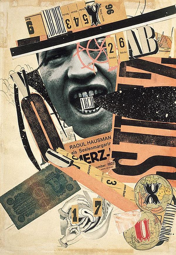 Raoul Hausmann, ABCD, 1923-1924 Encre de Chine, reproduction de photographie et imprimés découpés, collés sur papier, 40,4 x 28,2 Centre Pompidou-Musée national d'art moderne, Paris - Achat 1974 - © Adagp, Paris