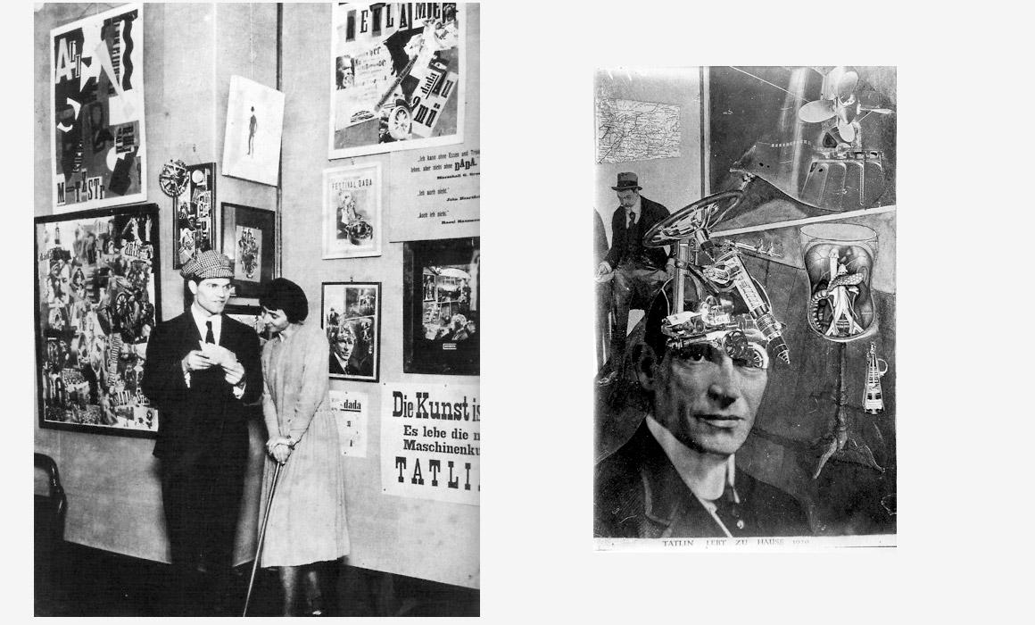 Raoul Hausmann et Hannah Höch au vernissage de la Foire internationale Dada, Berlin, 1920 A droite : Tatline vit à la maison Exposé à la « Première Foire Internationale Dada » à Berlin
