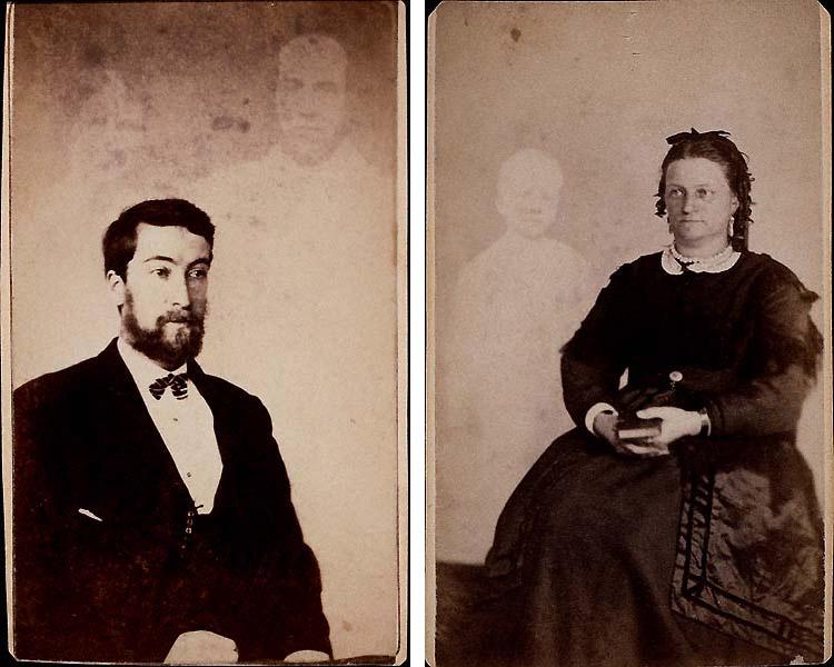 Homme avec deux fantômes - Dame avec un fantôme à l'enfant - Photographie : William H. Mumler