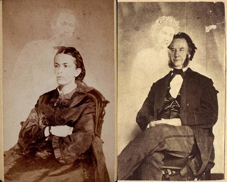 Fanny Conant avec le fantôme de son frère - Moïse A. Dow avec le fantôme de son assistant - Photographie : William H. Mumler